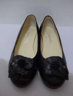 *full set* CHANEL Flats Lambskin Camellia Shoes/Black/36.5/95%New