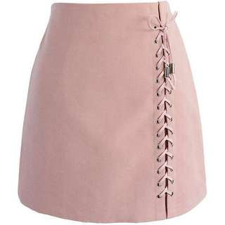 Lace Up Skirt in blush