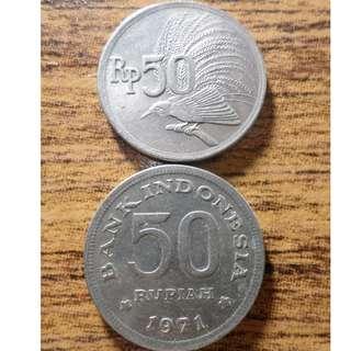 KOIN KUNO 50, 25, dan 10 RUPIAH tahun 1971