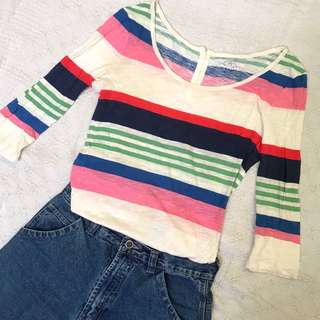 colored striped 3/4 sleeved shirt