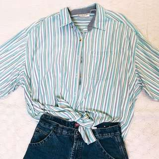 light blue oversized striped long sleeves polo