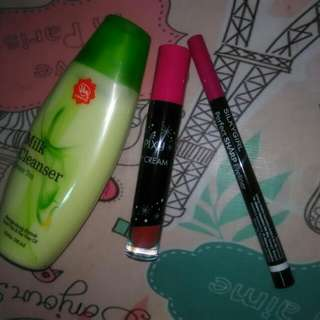 Viva milk cleanser+ Pixy lipcream+Silky girl perfect sharp eyeliner