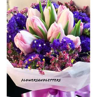 10 stalks Pink tulips with flower fillers hand bouquet fresh flowers flower bouquet tulips bouquet