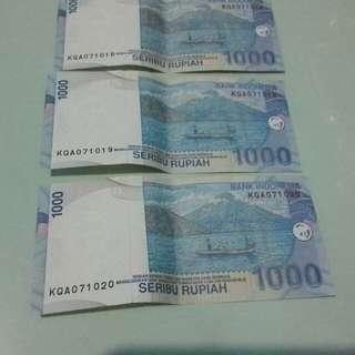 uang kertas nominal 1000 seri urut tahun 2009