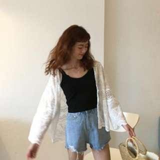 全新 女裝 R978293 9分袖純色開衫外套寬松顯瘦鏤空防曬衣學生女