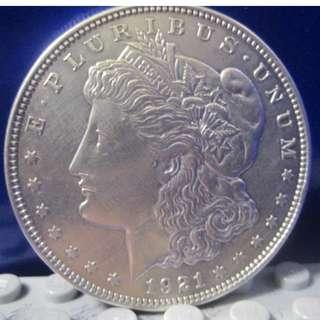 """1美元""""摩根美元""""  1921年"""