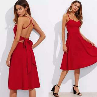 Red Backless Long Dress