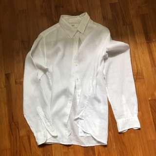 Premium French Linen White Shirt with Collar