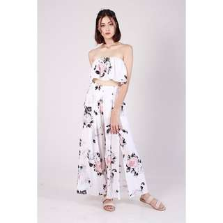 (PO) Pastel Floral 2pc Jumpsuit Set