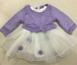 Tutu Dress in Purple white