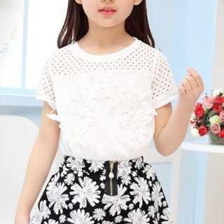 Girl Summer Lace Short Sleeve Top + Skirt