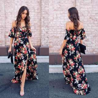 Updated! Off Black Floral Maxi