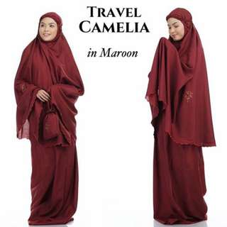 Telekung Travel Camelia (Maroon)