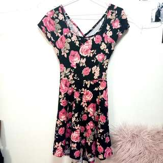Floral Skater Dress With Cut Out At The Back