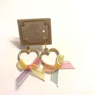 日本金色心形蝴蝶結耳環