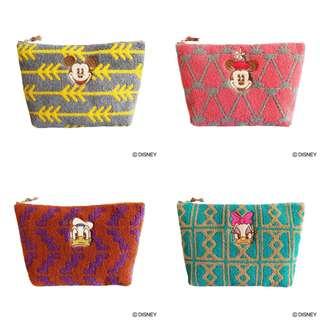 日本代購-迪士尼MICKEY/MINNIE/DONALD/DAISY刺繡袋