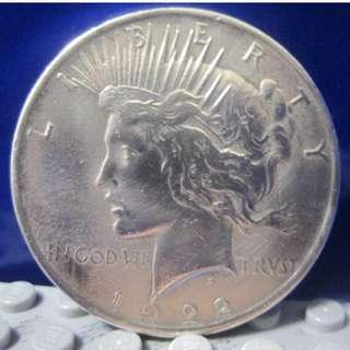 """1美元""""和平美元"""" PEACE DOLLAR 1922年"""