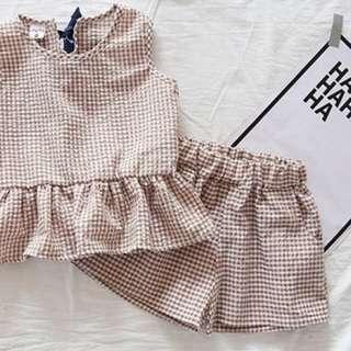 Girl Plaid Vest Top + Short Pant
