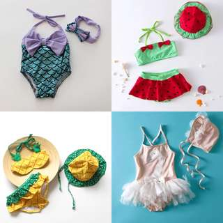 Kids Bikini Girl Baby Cartoon Mermaid Swimwear Beachwear