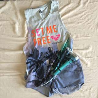 Buy 1 Get 1: Roxy Muscle Shirt + Denim Shorts