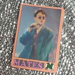 李克勤Hacken Lee 香港天王級男歌手 絕版 明星咭 明星卡 珍藏多年 早期  Mates M Card 歌詞:只懂得對你好