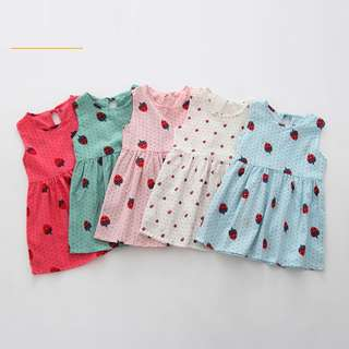BMT445 - Strawberry Print Dress *Cotton Linen*