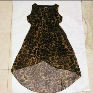 🚚 豹紋性感雪紡紗前短後長造型洋裝#女裝半價拉
