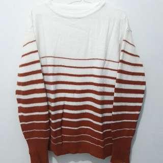 White - Brown Cardigan Knit