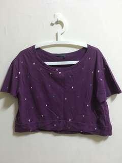 ❤️私物出清🉐️全新Gozo森林系甜美可愛滿版小愛心修身短版紫色罩衫