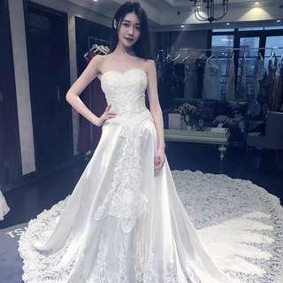 Pre order white fishtail Wedding bridal prom dress gown  RB0575