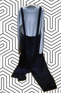 🉐️Niko and...🇯🇵兩穿式鈕扣可拆背後交叉兩側口袋修身絨布寬褲吊帶褲