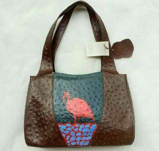 Vintage Leather Hobo Bag with Ostrich Embossed texture and DIY Flamingo Pattern