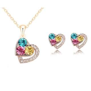 Heart Rhinestones Jewelry Set (necklace + earring)