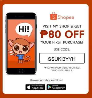 Download shopee and enter my code to save 80 pesos off on your bill!