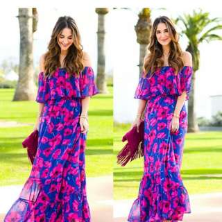 Fashion women summer vintage boho long maxi party beach dress floral sundress