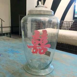 古董 小時候糖罐 薄玻璃
