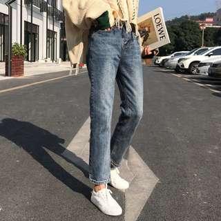 全新 女裝 R738876 九分直筒褲女春季風高腰顯瘦簡約休閑牛仔褲