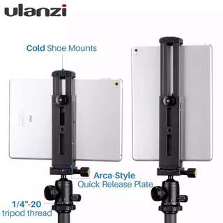Ulanzi Aluminium Tablet Tripod Mount Adapter Stand for iPad with Quick Release Interface,Hot Shoe Mount for iPad Pro Mini4 Air4