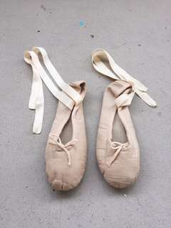 Size 4 Katz pink ballet shoes with ribbon