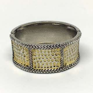 Vintage Gold and Silver Metal Cuff Bracelet