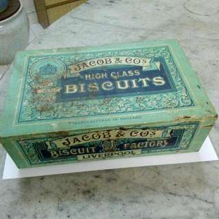 Jacob & Co's High Class Biscuits British Wafer Paper Label Tin Vintage