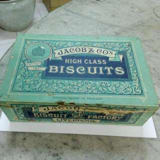 Jacob & Co's High Class Biscuits Lemon Puff Paper Label Tin Vintage