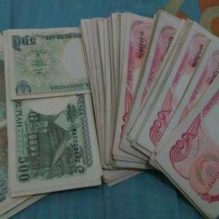 Uang kertas Rp 100 & Rp 500 tahun 1992
