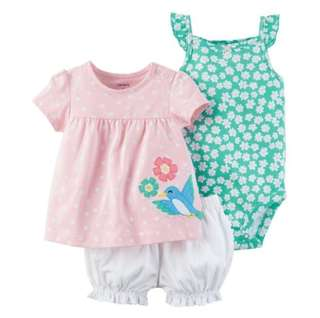 *9M* Brand new Carter's 3-Piece Bodysuit & Diaper Cover Set For Baby Girl