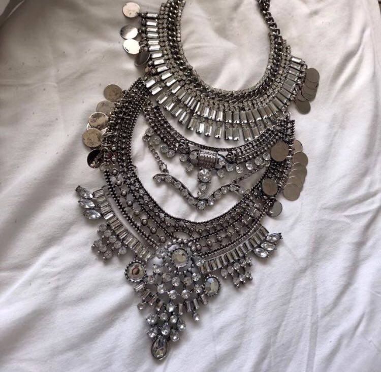 3 Layer Silver Statement Necklace