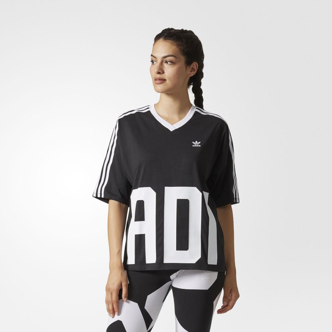 Adidas Originals Bold Age V Neck Three Stripe T-Shirt