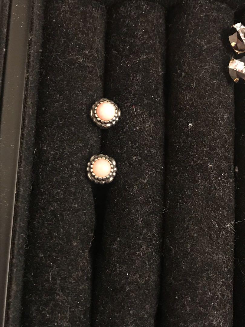 Authentic pandora earrings with rose quartz precious stone