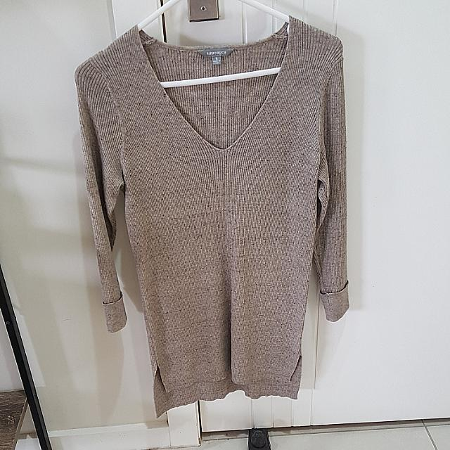 Beige Knit Long Dress Top Size Small