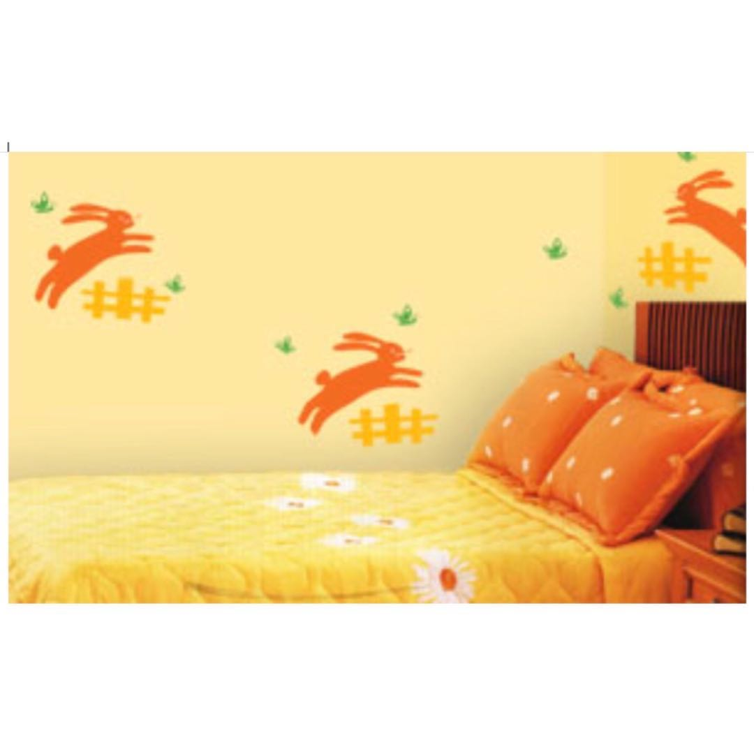 Bunny Garden Wall Decals, Furniture, Home Decor on Carousell