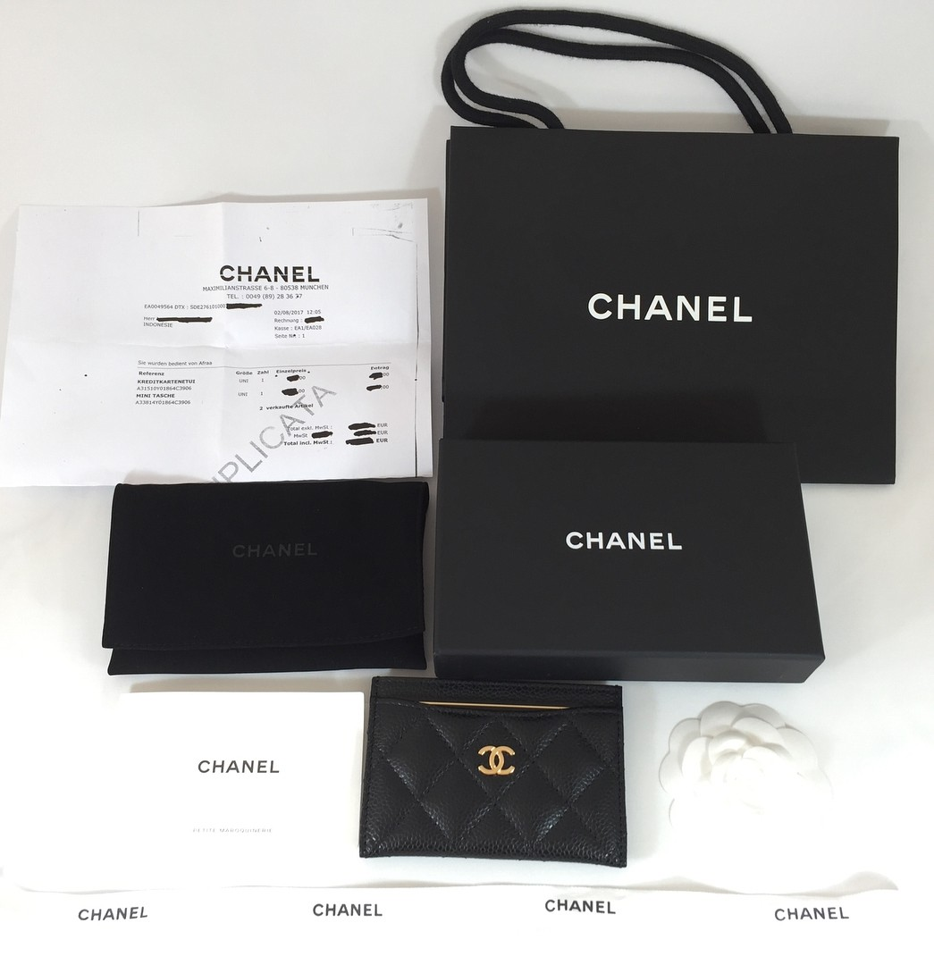 Brand New Chanel Classic Card Holder (Grained Calfskin & Gold Tone ...